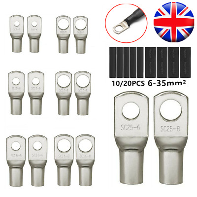 6-35mm² Tinned Copper Lug Ring Battery Terminals Wire Welding Cable Connectors • 6.69£