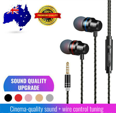 AU9.99 • Buy 3.5mm Wired In-Ear Earphones Bass Stereo Headphones Headset Earbuds With Mic NEW