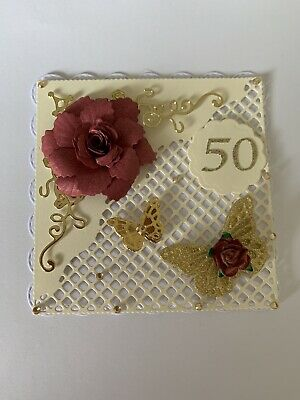 50TH BirthDay Flower And Butterfly Card Topper • 1.90£