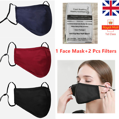Washable Reusable Cotton Face Mask Protective Covering  & PM2.5 Filters Adult UK • 2.95£