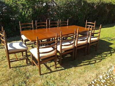 Quality Made Solid Oak Extending Refectory/Dining Table & 10 Chairs By Younger • 499.99£