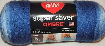 $13.99 • Buy Red Heart Super Saver Ombre Yarn - Big 10 Oz. Skein - True Blue - FREE SHIPPING