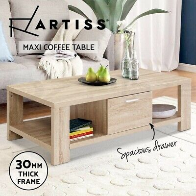AU89.90 • Buy Artiss Coffee Table Wooden Shelf Storage Drawer Tables Thick Tabletop Furniture
