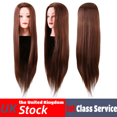 £10.94 • Buy 24'' Brown Hairdresser Training Head Hair Mannequin Doll + Clamp Synthetic Fiber
