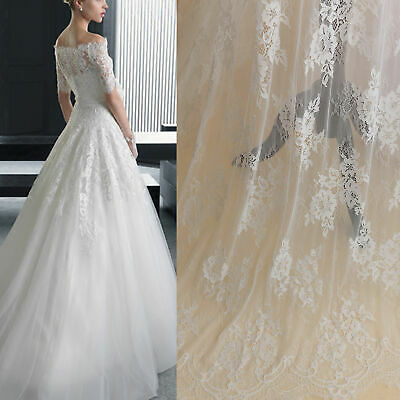 £19.99 • Buy 3 Meters Chantilly Lace Fabric Eyelash Lace Tulle Wedding Dress Lace