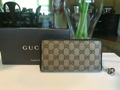 $55 • Buy SALE Authentic Gucci Continental GG Zip Long Wallet Beige/Black Pre-owned