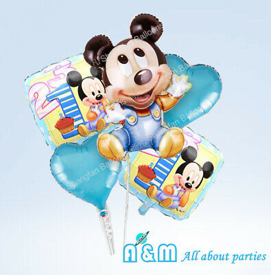 AU11.25 • Buy Set Of 5 Mickey Mouse First 1st Birthday Balloon Set Birthday Party Decoration
