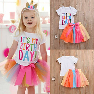 Kids Girls Baby Birthday Party Outfits T-Shirt Skirt Tutu Tulle Dress Set • 11.39£