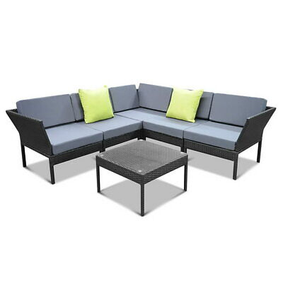 AU750 • Buy NEW Outdoor Wicker Sofa Lounge Setting Miami - Black With Cushions