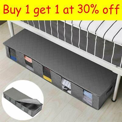 New Large Capacity Under Bed Storage Bag Box 5 Compartments Clothes Organizer MN • 7.99£