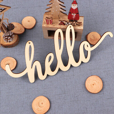 £5.97 • Buy Wooden Hello Sign Wall Plaque Wood Letters DIY Block Words Sign Decoration