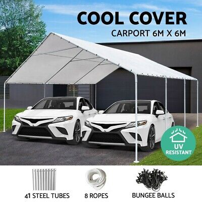 AU489.90 • Buy Carports 6x6m Carport Shelter Gazebo Steel Canopy Tent Portable Garden Shed WH