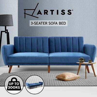 AU419.95 • Buy Artiss Sofa Bed Lounge 3 Seater Futon Couch Beds Recliner Wood 207cm Velvet Blue