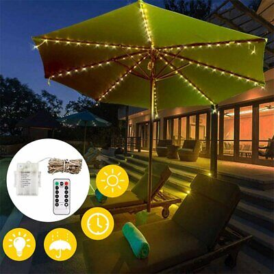104 LED Battery Operated Parasol String Light Garden Patio Table Umbrella Lights • 8.65£