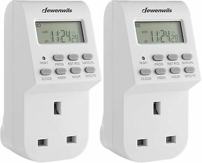 DEWENWILS Digital Lamp Timer Socket Plug 20ON/Off Weekly Settings 2Pack UHDTI22C • 14.99£