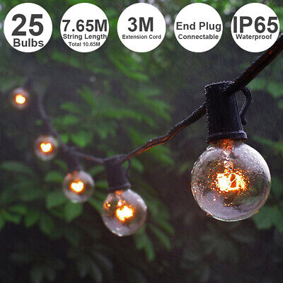 25FT Globe Fairy String Festoon Lights LED Clear Bulbs G40 Indoor Outdoor Garden • 23.98£