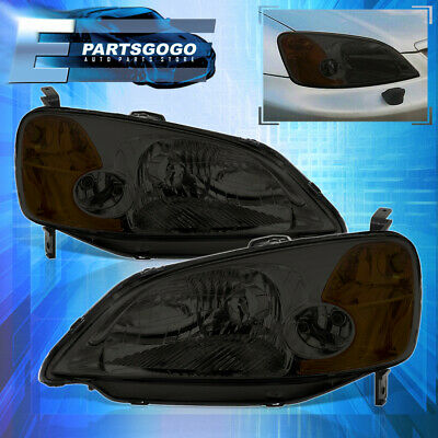 $63.99 • Buy For 01-03 Honda Civic 2/4DR JDM Headlights Lamps Pairs Left+Right Smoke Amber