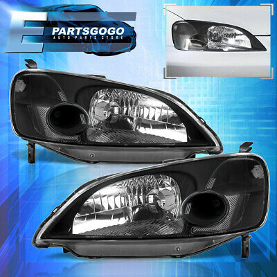 $66.99 • Buy For 01-03 Honda Civic 2/4DR JDM Headlights Lamps Pairs Left+Right Black Clear