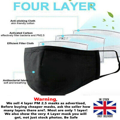 Face Mask Protective Covering Dust Washable Adult 4 Layer PM 2.5 No Valve  • 3.95£