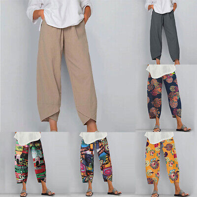 Women Ladies Casual Cotton Linen Baggy Harem Plus Size Trousers Loose Pants UK • 8.79£