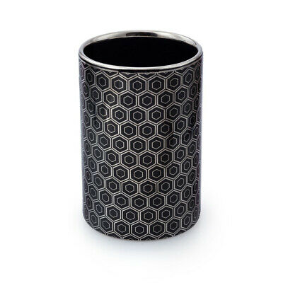 Honeycomb Chrome & Black Round Tumbler Cup Toothbrush Holder Bathroom Accessory • 7.95£