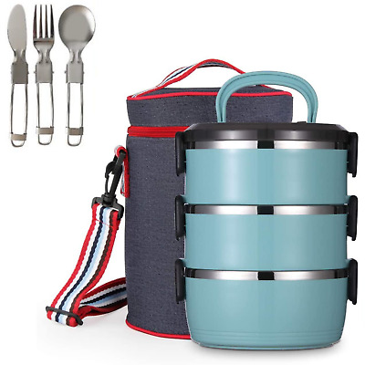 AU55.90 • Buy Lunch Box Stainless Steel Bento 3 Layer Thermal Insulated Food Storage Container