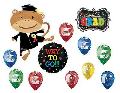$ CDN18.13 • Buy Monkey Graduation Balloon Mix Grad Party Decor Supplies Anagram 12p Bouquet NEW