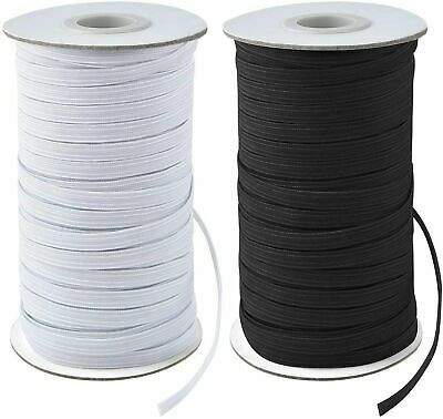$ CDN10.63 • Buy 200 Yards Elastic Band 1/4  6mm Width Sewing Trim String DIY White/Black Braided