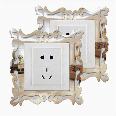 £2.89 • Buy 4X Silver Mirror Flower Light Switch Surround Wall Sticker Cover Frame Decor HOT