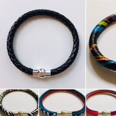 Imitation Leather / Canvas Bracelet With Silver Coloured Magnetic Clasp, 4 Sizes • 2.99£