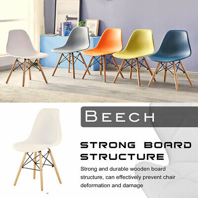 £22.99 • Buy Set Of 1 Dining Chair Plastic Seat Retro Eiffel Wooden Legs Lounge Kitchen Room