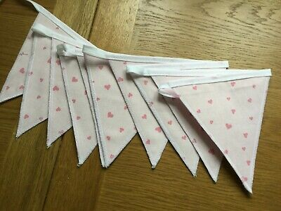 Pink Hearts  Handmade Laura Ashley Pink Bunting 10 Double Sided Flags • 19.95£
