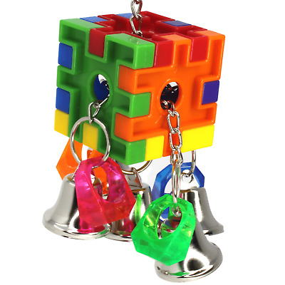 3475 Bell Cube Pull Bird Toy Parrot Cage Toys Cages Parakeet Cockatiel Conure • 11.57£