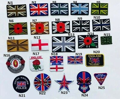 Union Jack MTP Style TRF Police Army Poppy England Iron Sew On HooK&Loop Patch • 1.99£