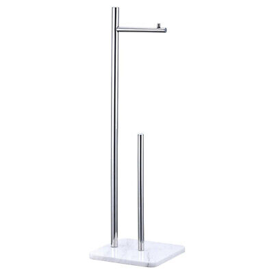 Enzo Dual Toilet Roll Holder Chrome Large Free Standing Heavy White Marble Base • 34.95£