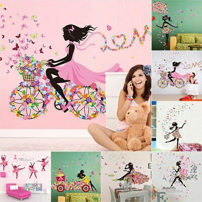 £6.55 • Buy Angel Flower Girl Butterfly Flower Fairy Wall Stickers For Room Decoration Gift