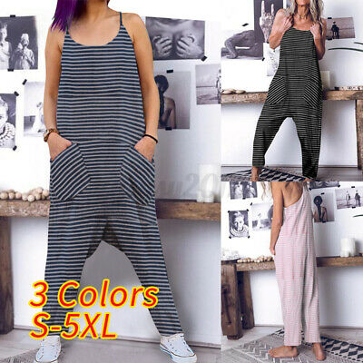 Size Womens Baggy Harem Jumpsuit Ladies Romper Loose Sleeveless Pockets Playsuit • 10.59£