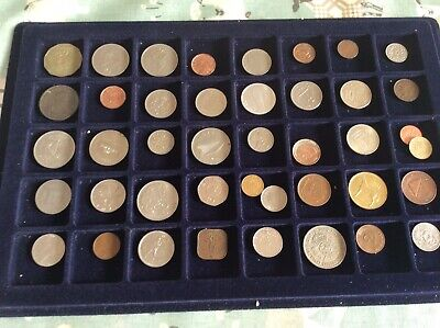 40 X Foreign & English Coins Etc In Tray Part Of Collection • 6.75£
