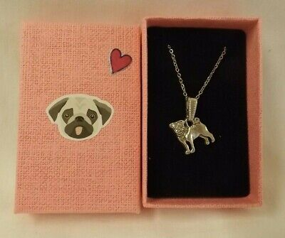 £7.99 • Buy Silver Colour Pug Dog Necklace In Decorated Pink Gift Box - NEW
