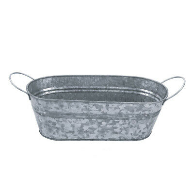 PMS Premium Finish Galvanized Oval Planter With Handle And Hang Tag • 5.99£