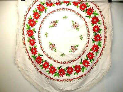 $ CDN30.45 • Buy Vintage  Round Tablecloth Holiday Or Christmas, Fringed, 62 In. Bells Poinsettia