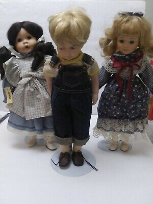 $ CDN30.30 • Buy Lot Of 3 Porcelain Dolls With Stands 2 Girls 1 Boy
