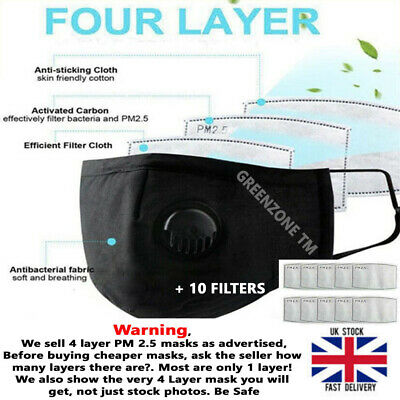 Face Mask Protective Covering Washable Reusable Adult PM 2.5 + Valve + 10 Filter • 4.95£