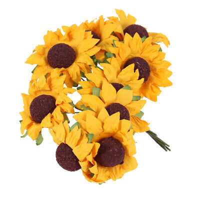 100Pcs Artificial Paper Sunflower Wedding Card Birthday Party Decorations • 5.32£