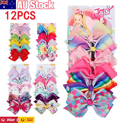 AU16.99 • Buy 12X 4.8 Inch Signature Jojo Siwa Bows Girls Fashion Hair Accessories Cheerleader