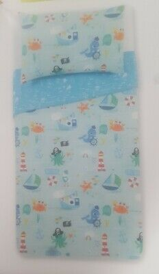 Kids Beach Seaside Nautical Duvet Cover & Sheet - Lighthouse Boats Whales - New • 24.99£