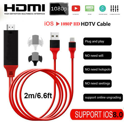 1080P IOS To HDMI TV AV 2M Cable Adapter Connector With USB For IPhone 6 7 8 11 • 6.19£