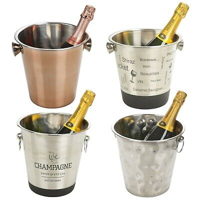 Large Champagne Metal Party Bowl Wine Beer Ice Cooler Bottle Bucket 5 Styles • 9.49£