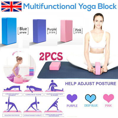 2PCS Yoga Block Pilates Fitness Up Stretching Foaming Brick Health UK Sellers • 4.99£