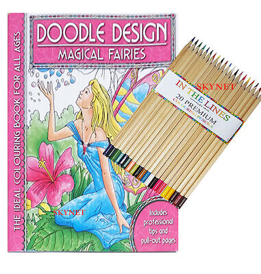 MAGICAL FAIRIES ADULT Colouring Book - Doodle ANTI STRESS Art Therapy PENCILS  • 6.99£